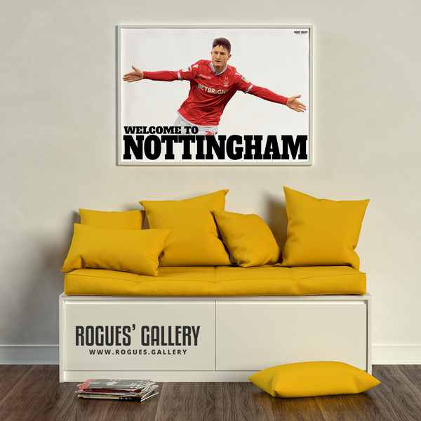 Joe Lolley Nottingham Forest Winger Welcome to Nottingham A1 art print ltd edition edit