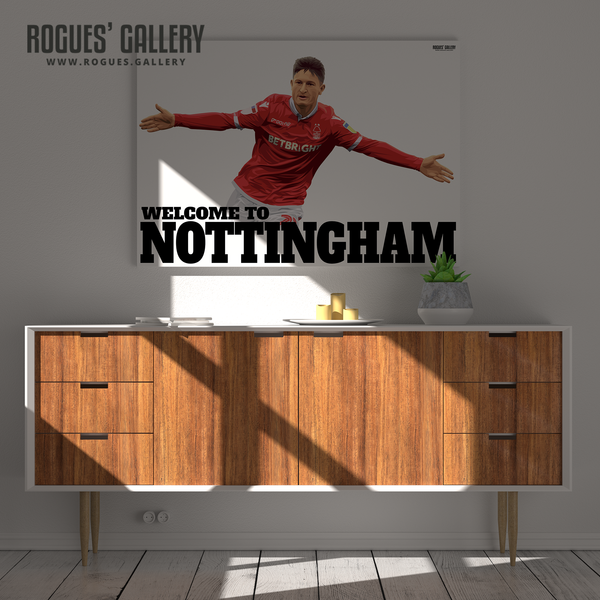 Joe Lolley Nottingham Forest Winger Welcome to Nottingham A1 art print goal arms out