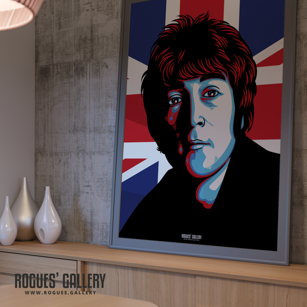 John Lennon The Beatles A0 huge large poster union jack Liverpool