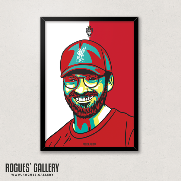 Jurgen Klopp manager boss Liverpool FC Anfield Art print A3 Champions Limited Edition Title edit
