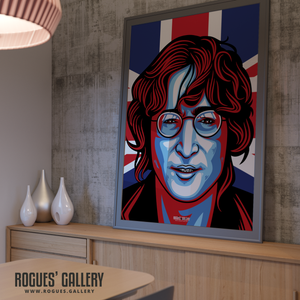 John Lennon Solo Imagine glasses modern art design Union Jack A0 huge print poster