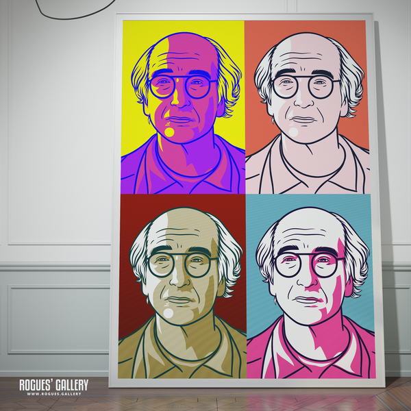 Larry David Curb Your Enthusiasm Stare large Bright Pop Art poster signed autograph