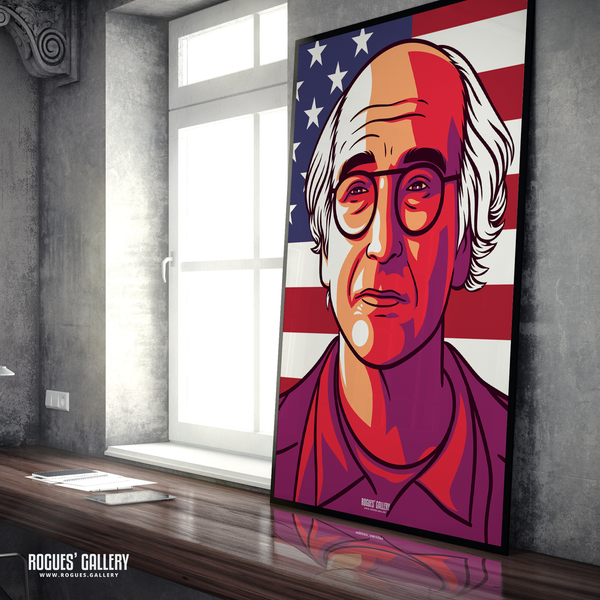 Larry David Curb Your Enthusiasm Stare large A0 Art print