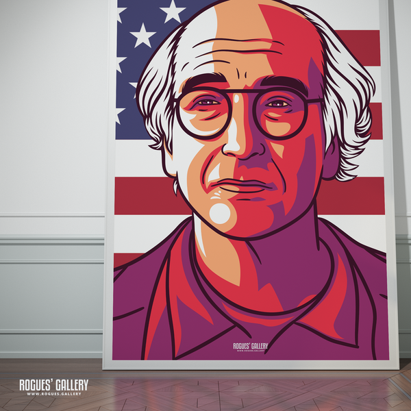Larry David Curb Your Enthusiasm Stare huge poster signed autograph rare