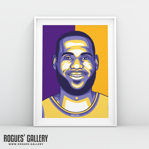 LeBron James Los Angeles Lakers basketball A3 Print edit NBA star