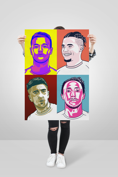Leeds United Pop Art big print Pablo Hernandez Luke Ayling Kalvin Phillips Liam Cooper Elland Road