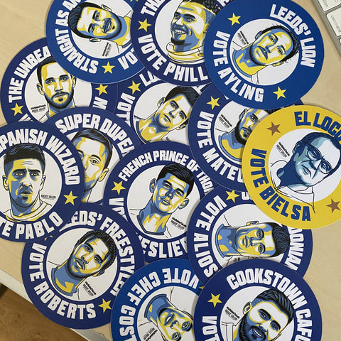 Leeds United SPECIAL BUNDLE #GetBehindTheLads Football Campaign Stickers or beer mats