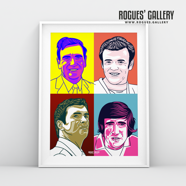 Leeds United legends Pop Art big A1 print edit Revie Bremner Speed Hunter legends