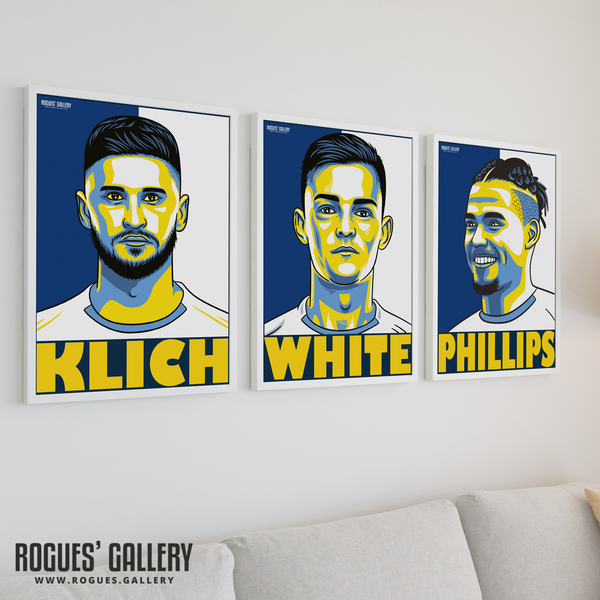 Leeds United A3 Art prints Elland Road Klich Ben White Kalvin Phillips
