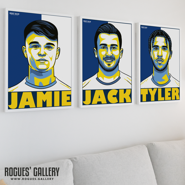 Leeds United A3 prints Roberts Harrison Shackleton