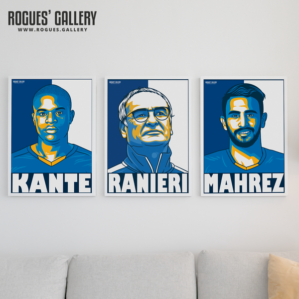 Leicester City Premier League Champions team 2016 LCFC Foxes gift limited edition A3 prints Mahrez Kante Ranieri