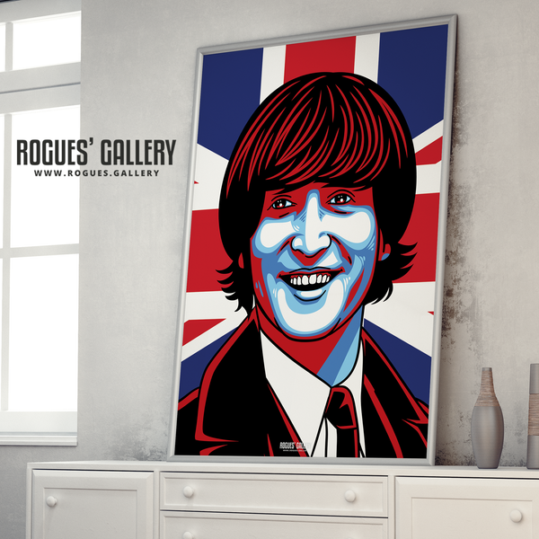 John Lennon The Beatles A1 art print union jack Liverpool younger mop top
