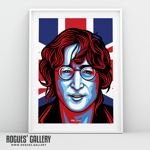 John Lennon Solo Imagine glasses modern art design Union Jack A3 art print shot
