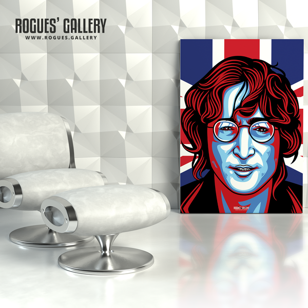 John Lennon Solo Imagine glasses modern art design Union Jack A1 large print poster