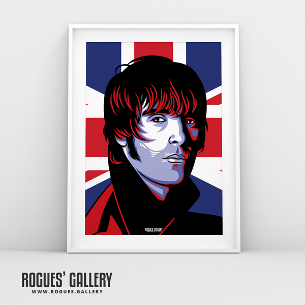 Liam Gallagher Oasis Union Jack art print rock poster edit A3 edit