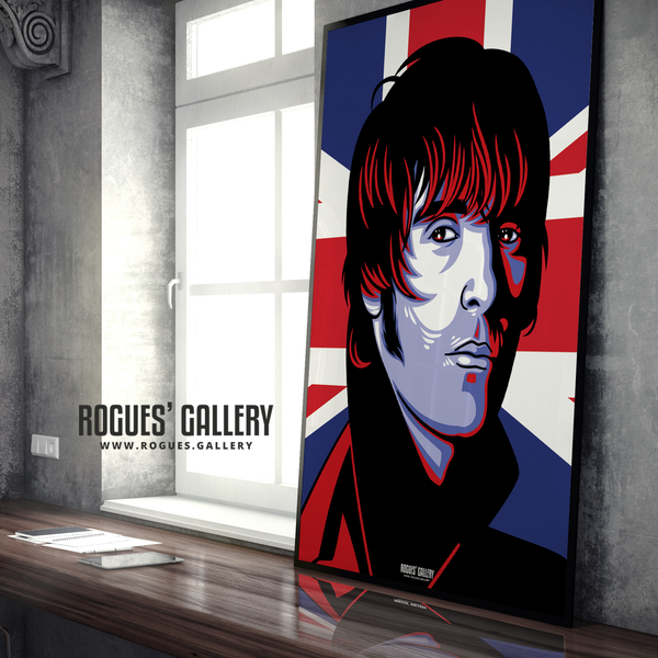 Liam Gallagher Oasis Union Jack art print rock poster edit A1  drugs