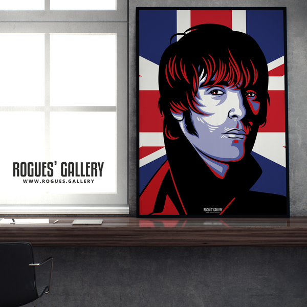 Liam Gallagher Oasis Union Jack art print rock poster edit A1  edit