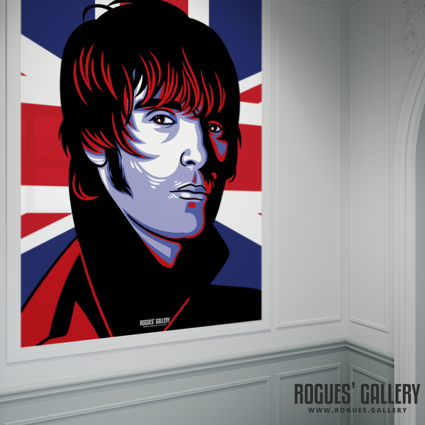 Liam Gallagher Oasis Union Jack art print rock poster edit A10 poster massive