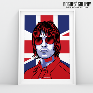 Liam Gallagher Oasis Union Jack art print rock poster edit A13 split