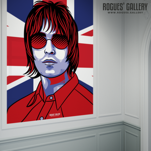 Liam Gallagher Oasis Union Jack art print rock poster edit A1