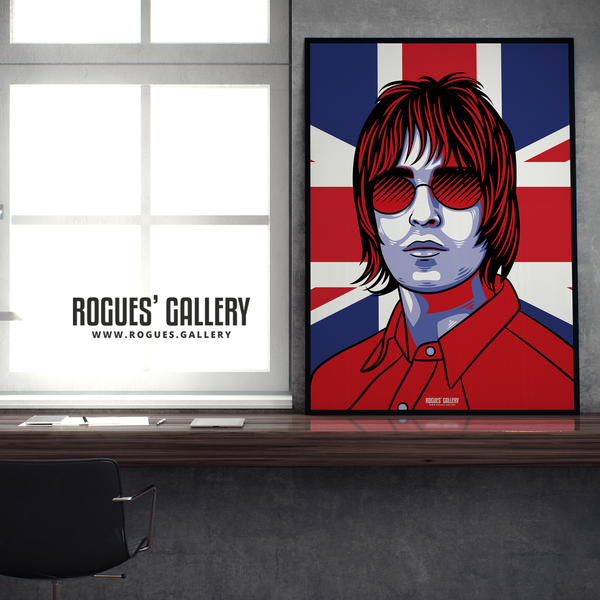 Liam Gallagher Oasis Union Jack art print rock poster edit A1  desk framed limited edition