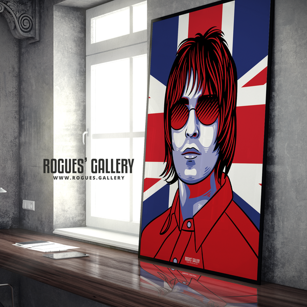 Liam Gallagher Oasis Union Jack art print rock poster edit A0 reform