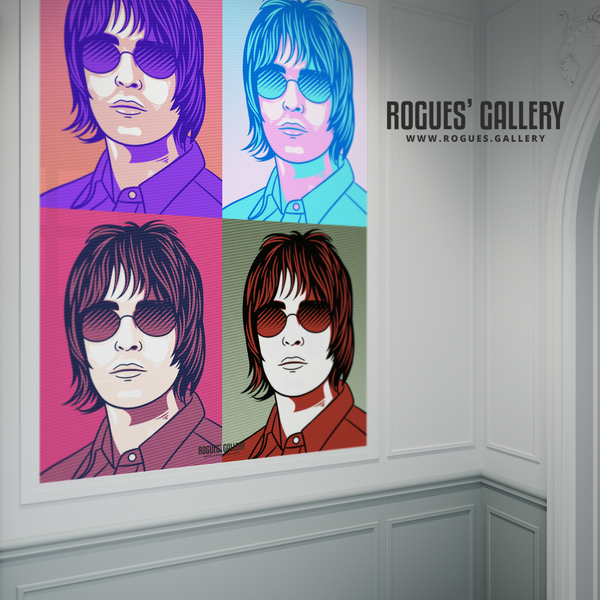 Liam Gallagher Oasis pop art print rock poster edit A1 poster split