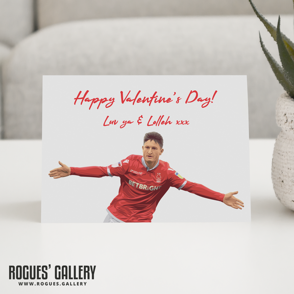 Joe Lolley Valentine's Day Card Lolleh NFFC Nottingham Forest City Ground
