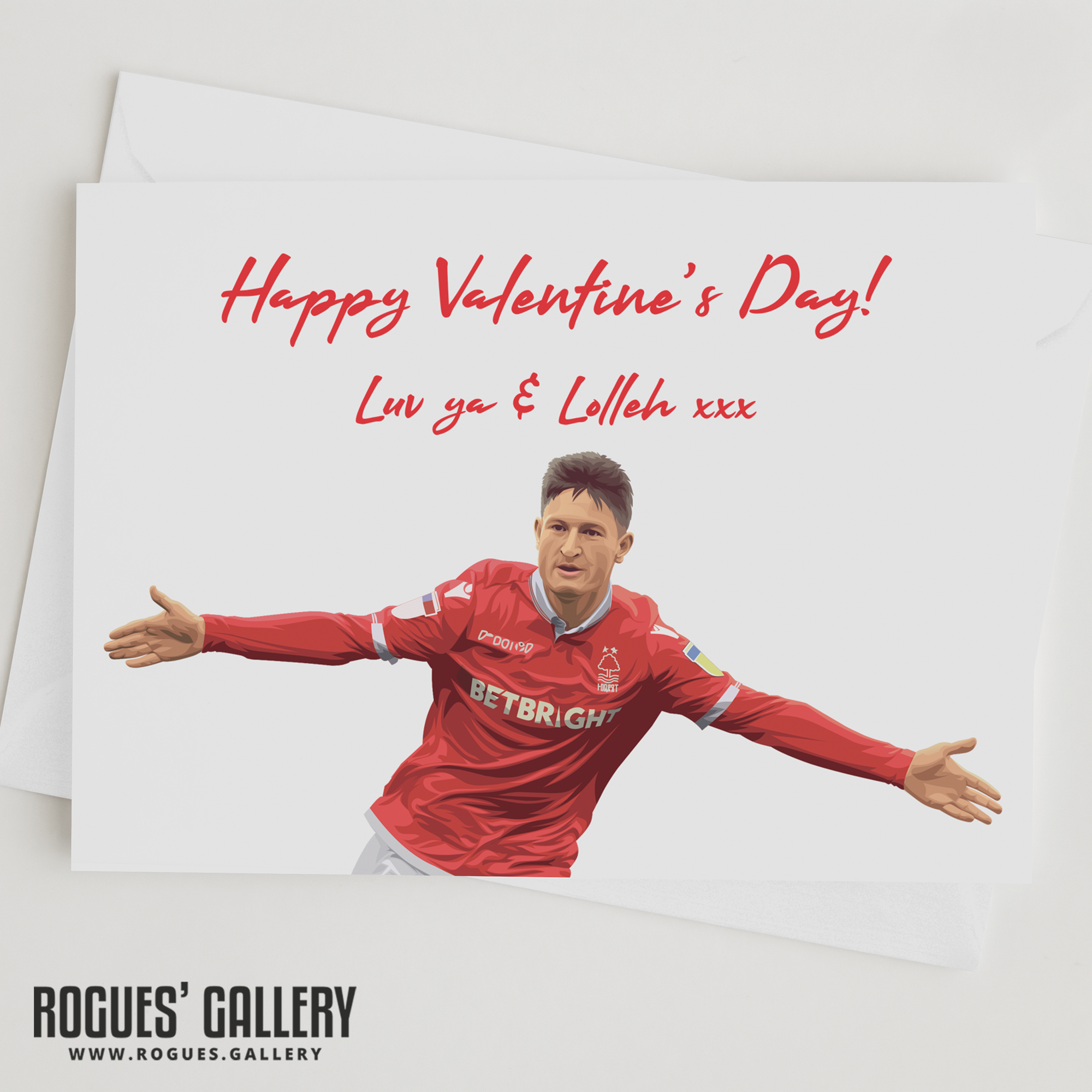 Joe Lolley Valentine's Day Card Lolleh NFFC Nottingham Forest