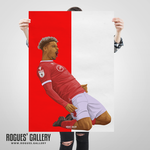 Lyle Taylor Nottingham Forest City Ground striker goals large print red white icon print edit portrait