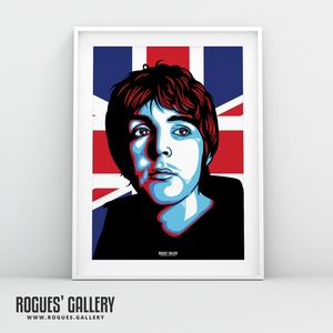 Paul McCartney The Beatles A3 art print union jack