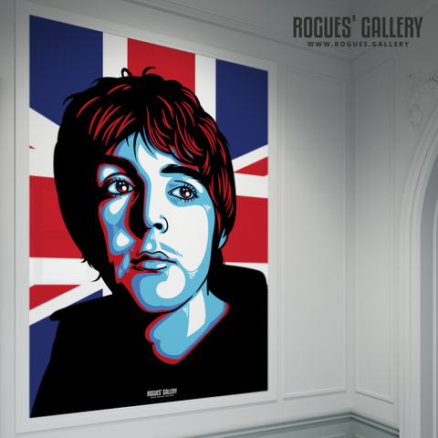 Paul McCartney The Beatles A0 huge large poster union jack