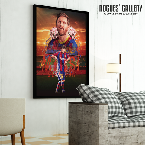 Lionel Messi Barcelona FC dancing edit Argentina Barcelona legend greatest large poster on wall framed