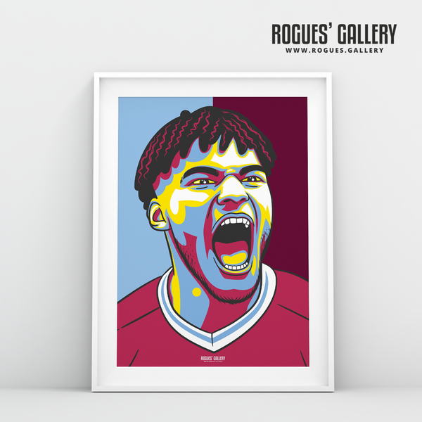 Tyrone Mings Aston Villa FC centre half A3 art print design edit AVFC
