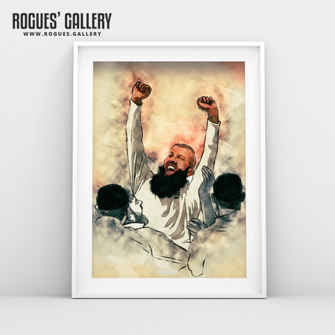 Moeen Ali England all rounder spin bowler wicket Cricket World Cup CWC2019 Winners art print A3 edit