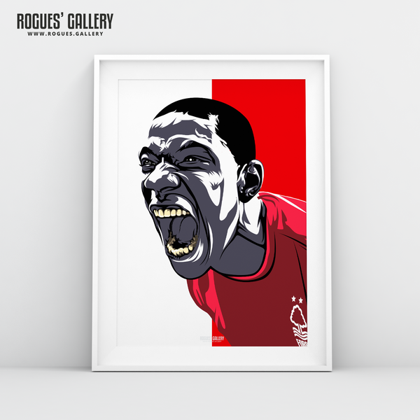 Guy Moussi Nottingham Forest midfield scream A3 print edit design