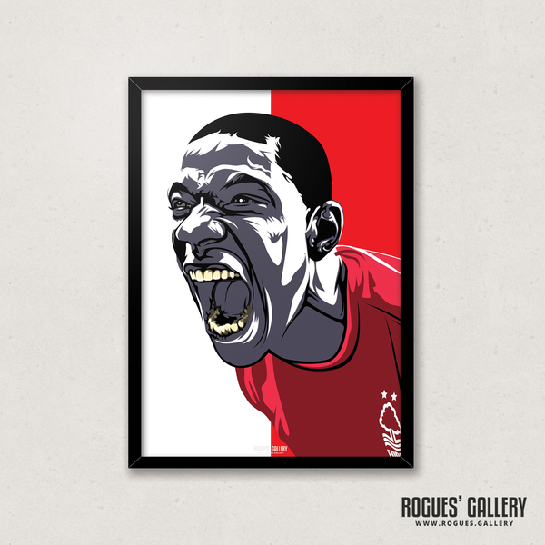 Guy Moussi Nottingham Forest midfielder scream A3 print edits art design