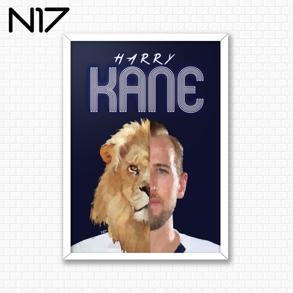 Harry Kane forward captain Spurs England Three Lions N17 print edit A3 design