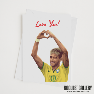 Neymar Brazil heart symbol Love you card