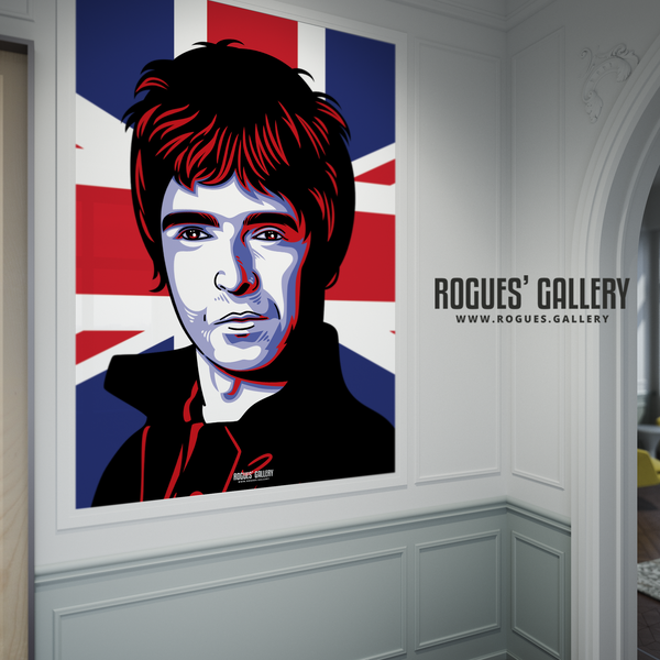 Noel Gallagher Oasis Union Jack art print rock poster edit A1 framed art