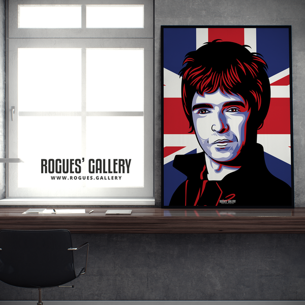 Noel Gallagher Oasis Union Jack art print rock poster edit A1 framed desk
