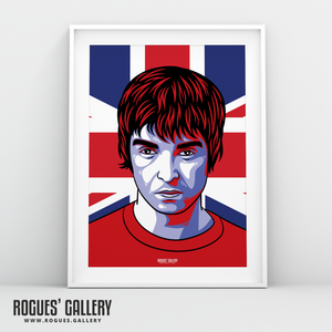 Noel Gallagher Oasis Union Jack art print rock poster edit A3 reform