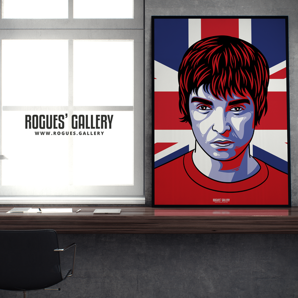 Noel Gallagher Oasis Union Jack art print rock poster edit A0