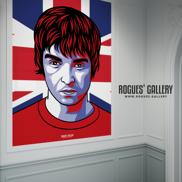 Noel Gallagher Oasis Union Jack art print rock poster edit A1 Liam bust up
