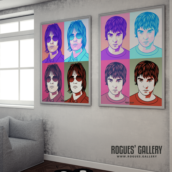 Oasis pop art prints of Liam and Noel