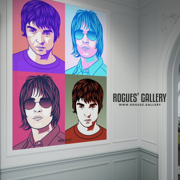Oasis retro pop art Liam Gallagher Noel A0 huge large poster Manchester rock'n'roll hits supernova
