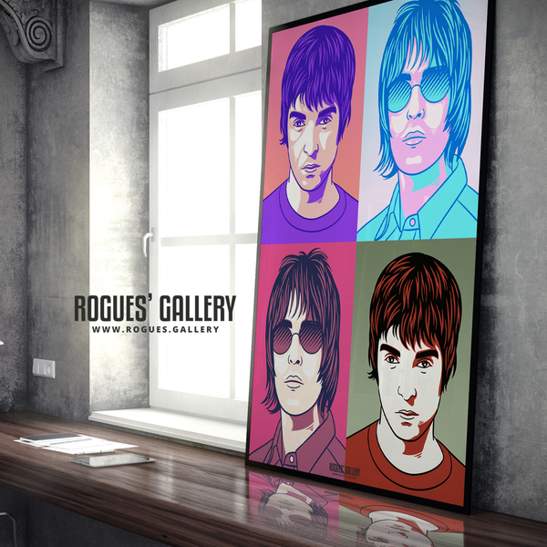Oasis retro pop art Liam Gallagher Noel A1 huge large poster Manchester rock band