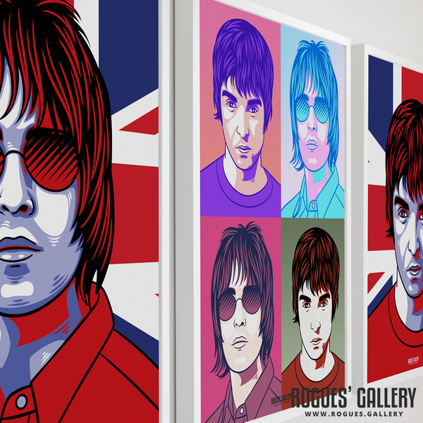 Oasis retro pop art Liam Gallagher Noel A1 huge large poster Manchester