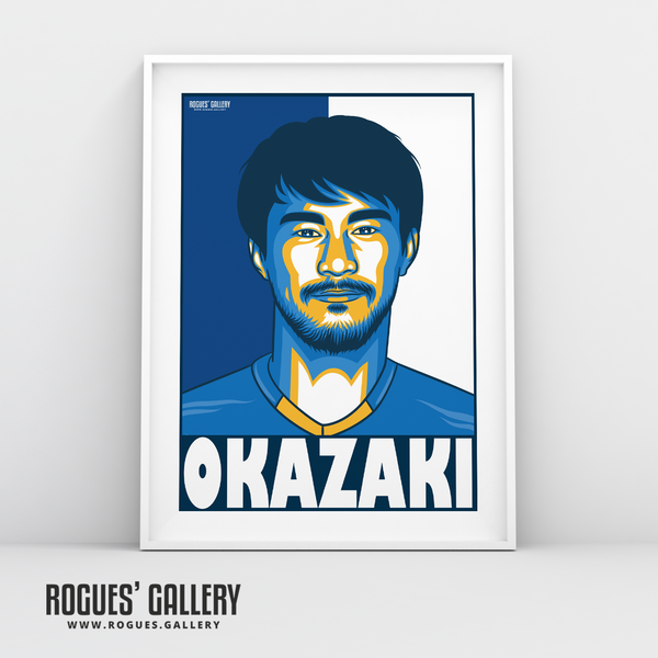 Shinzo Okazaki striker Japanese Leicester City LCFC Foxes Premie League Champions A3 Print