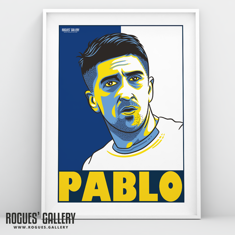 Pablo Hernadez Leeds United FC midfield Spanish Wizard A3 art print design